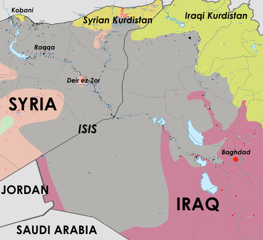 Map of estimated ISIS control in western Iraq and eastern Syria on February 3, 2015, relative to Jordan and Saudi Arabia borders. Adapted by ArsenalForDemocracy.com from Wikimedia.