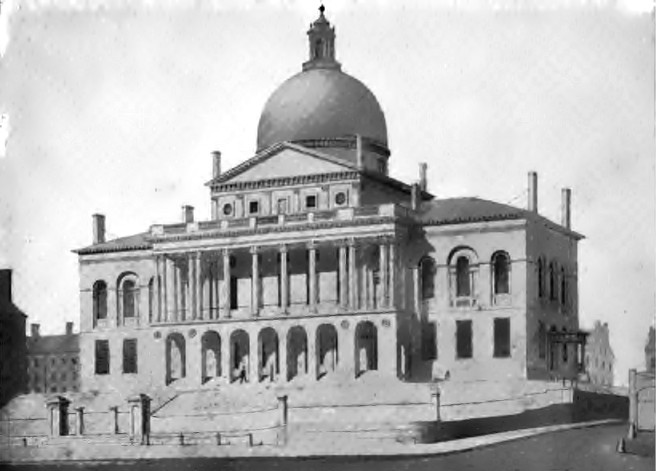 1827 drawing of the Massachusetts State House -- an example of the Federal style of architecture in the early American republic -- by Alexander Jackson Davis.