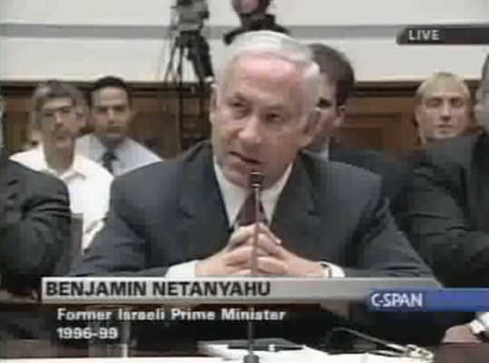 Benjamin Netanyahu testifying to Congress on Iraq in September 2002.