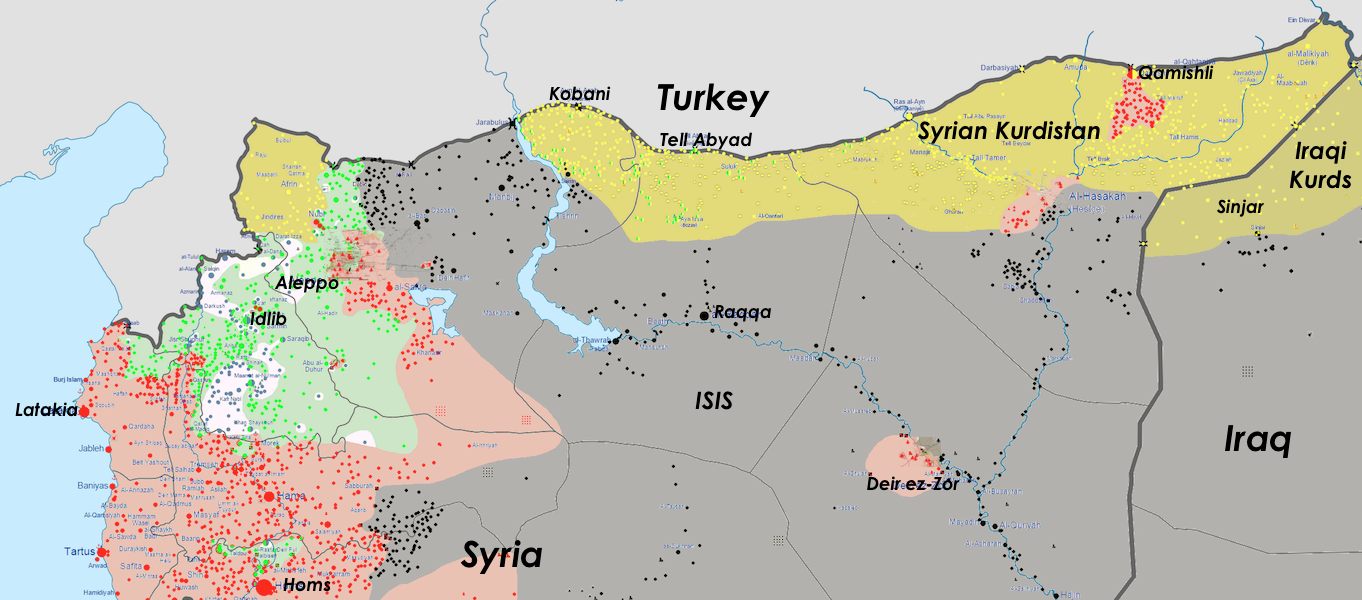 Click to enlarge: Detailed conflict map of Northern Syria, June 29, 2015, including Kobani. (Adapted by Arsenal For Democracy from Wikimedia)