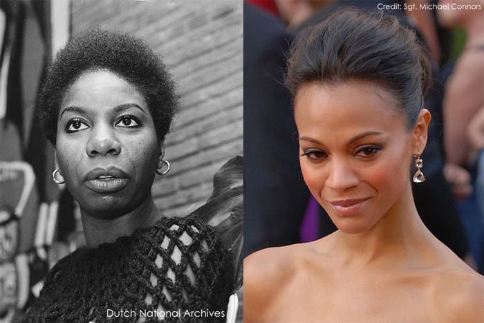 Left: Nina Simone, 1965 (credit). Right: Zoe Saldana, 2010 (credit). Composite image by Arsenal For Democracy.