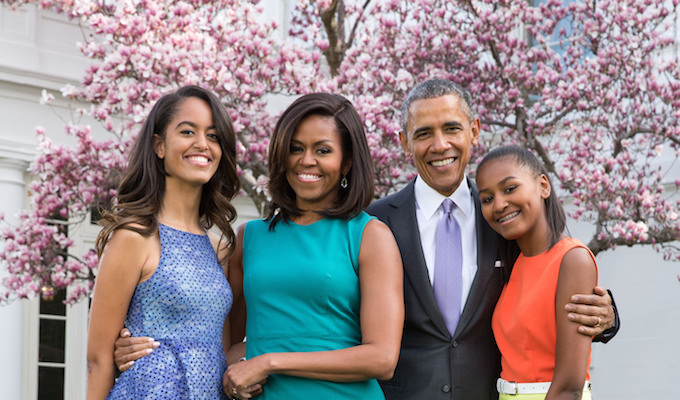 President Barack Obama, First Lady Michelle Obama, and daughters Malia and Sasha, April 5, 2015. (Official White House Photo by Pete Souza)