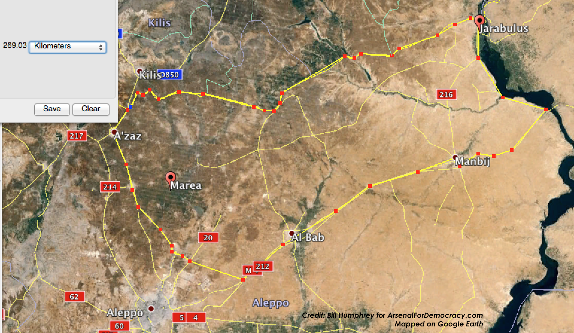 July 24, 2015 projection of the perimeter of a potential Turkish occupation zone and no-fly zone in northern Syria. Click to enlarge.