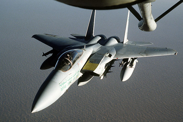 A Royal Saudi Air Force F-15 Eagle fighter aircraft, May 1992, Operation Desert Shield. (Credit: U.S. Department of Defense / TECH. SGT. H. H. DEFFNER)