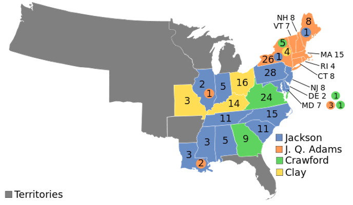 1824 presidential election results map. Blue denotes states won by Jackson, Orange denotes those won by Adams, Green denotes those won by Crawford, Light Yellow denotes those won by Clay. Numbers indicate the number of electoral votes allotted to each state. (Map via Wikipedia)