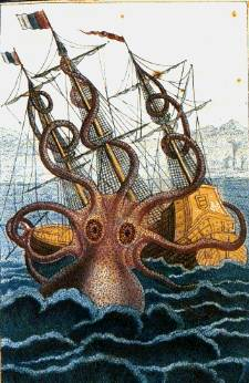 Pen and wash drawing by malacologist Pierre Dénys de Montfort, 1801, from the descriptions of French sailors reportedly attacked by a colossal octopus off the coast of Angola.