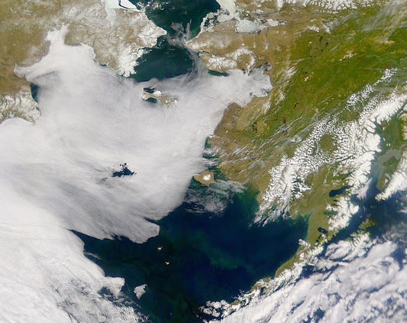 June 2001 NASA satellite image of the Bering Strait, where the U.S. state of Alaska (right) meets Russia's Chukotka Autonomous Okrug (left).