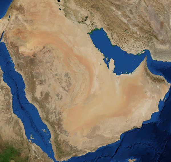 Satellite photograph of the Arabian Desert from NASA World Wind 1.4.