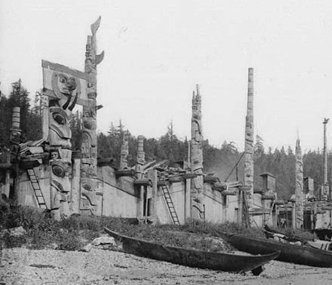 July 1878: Skidegate Indian Village of the Haida tribe. Skidegate Inlet, British Columbia, Canada. (Library and Archives Canada)