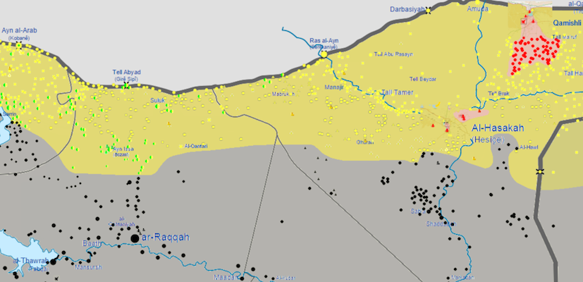 Approximate front line of the southward push by Kurdish YPG forces against ISIS in eastern Syria, as of October 26, 2015. (Map via Wikimedia community.)
